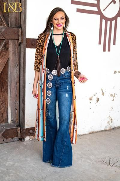 Amber Leopard & Orange Aztec 3/4 Sleeve Duster #aztec