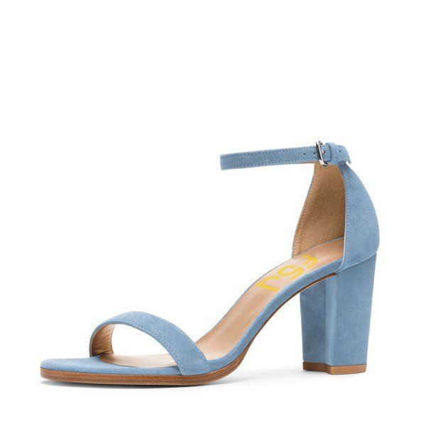 Light Blue Suede Ankle Strap Sandals Open Toe Chunky Heel