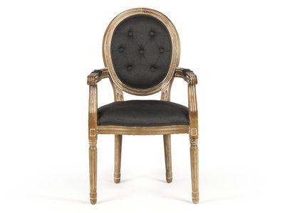 Chaise médaillon avec accoudoirs en polyester et bois LOUISE Gris