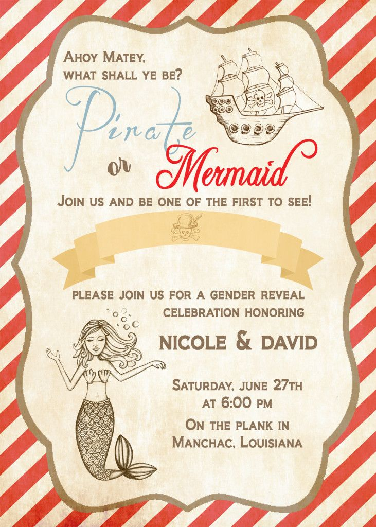 Gender Reveal Pirate or Mermaid Invite by StudioFourty60 | Nicole ...