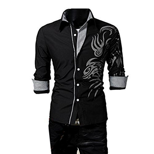 Partiss Mens Abstract Dragon Shirt, Large, Black Fancy Dr... http ...