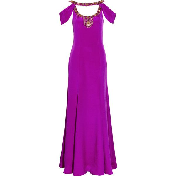 Temperley London Josephine Embellished Stretch-Silk Gown ($1,040) ❤ liked on Polyvore featuring dresses, gowns, women, party gowns, cutout dresses, party dresses, purple dress and purple party dresses