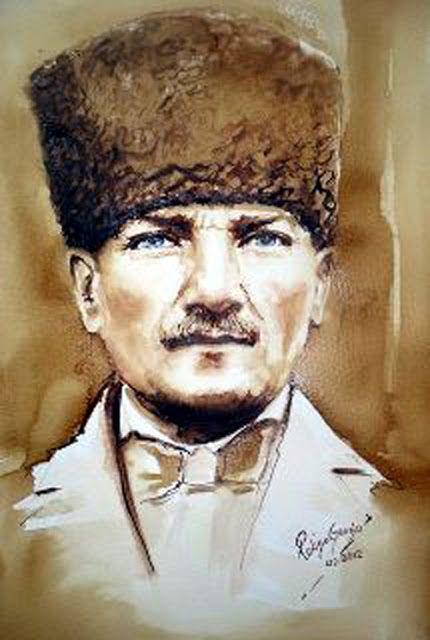 Sulu Boya Ataturk Portresi Ressam Rukiye Garip Painting Of Ataturk Founder Of Turkey Portre Sulu Boya Resim