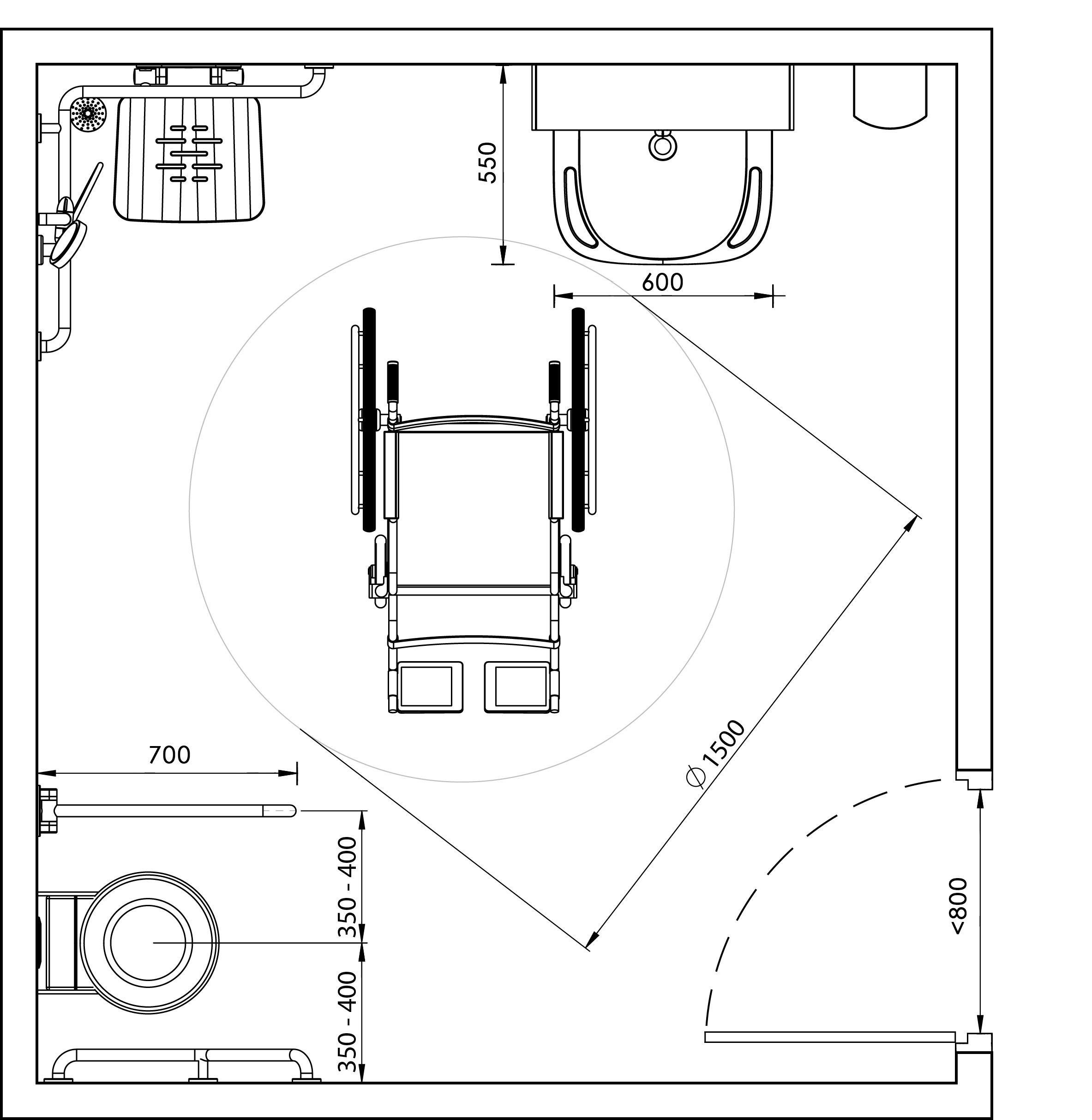 Rappel Normes PMR NF P 19-19_Plan  Salle de bain pmr