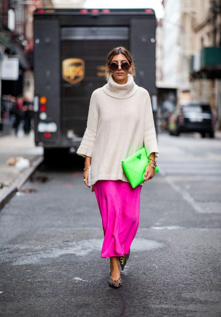 4dd0e4d75088 NEW YORK, NY - SEPTEMBER 12: Aylin Koenig wearing neon pink dress H&M Studio