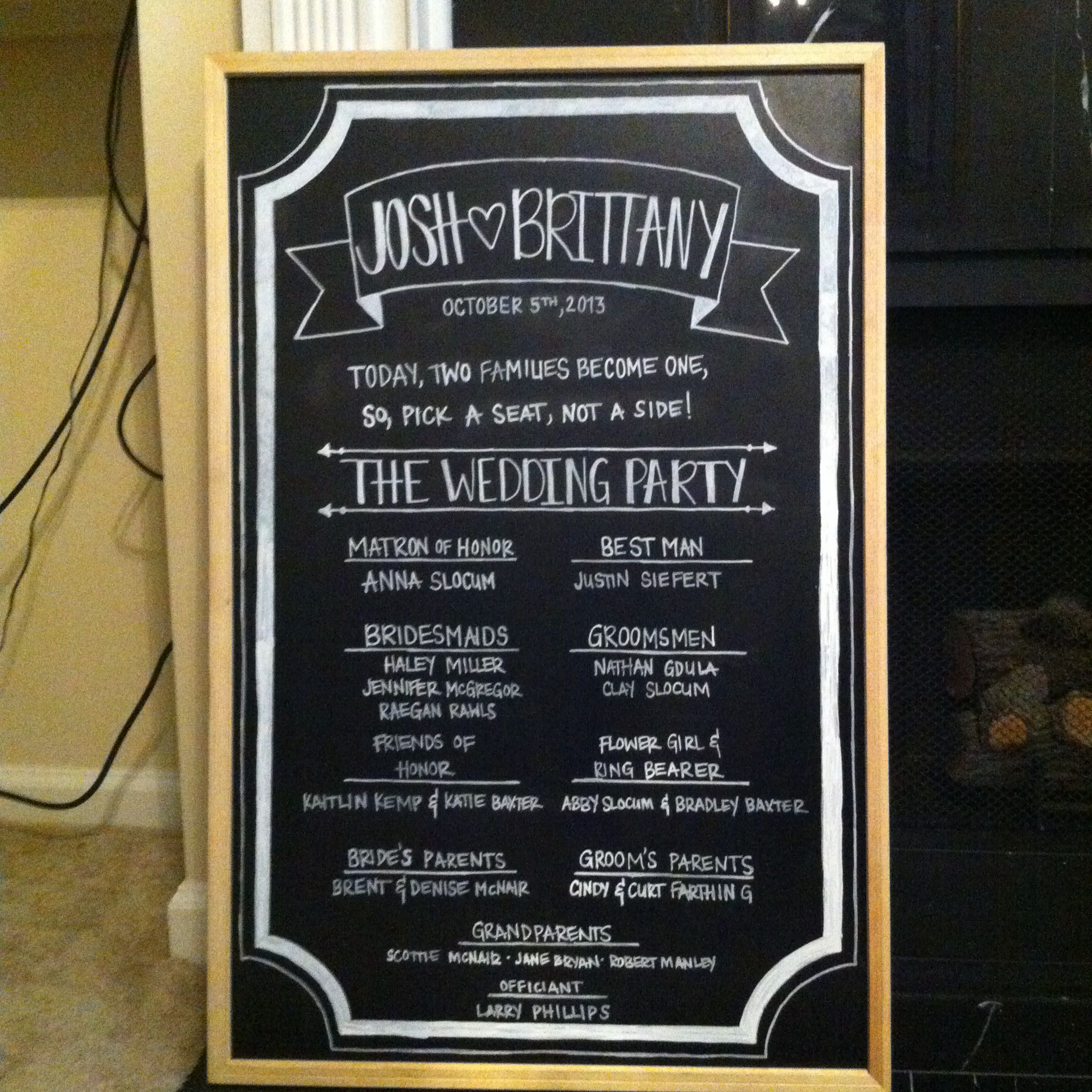Wedding Chalkboard Ideas: DIY Wedding Program Chalkboard!
