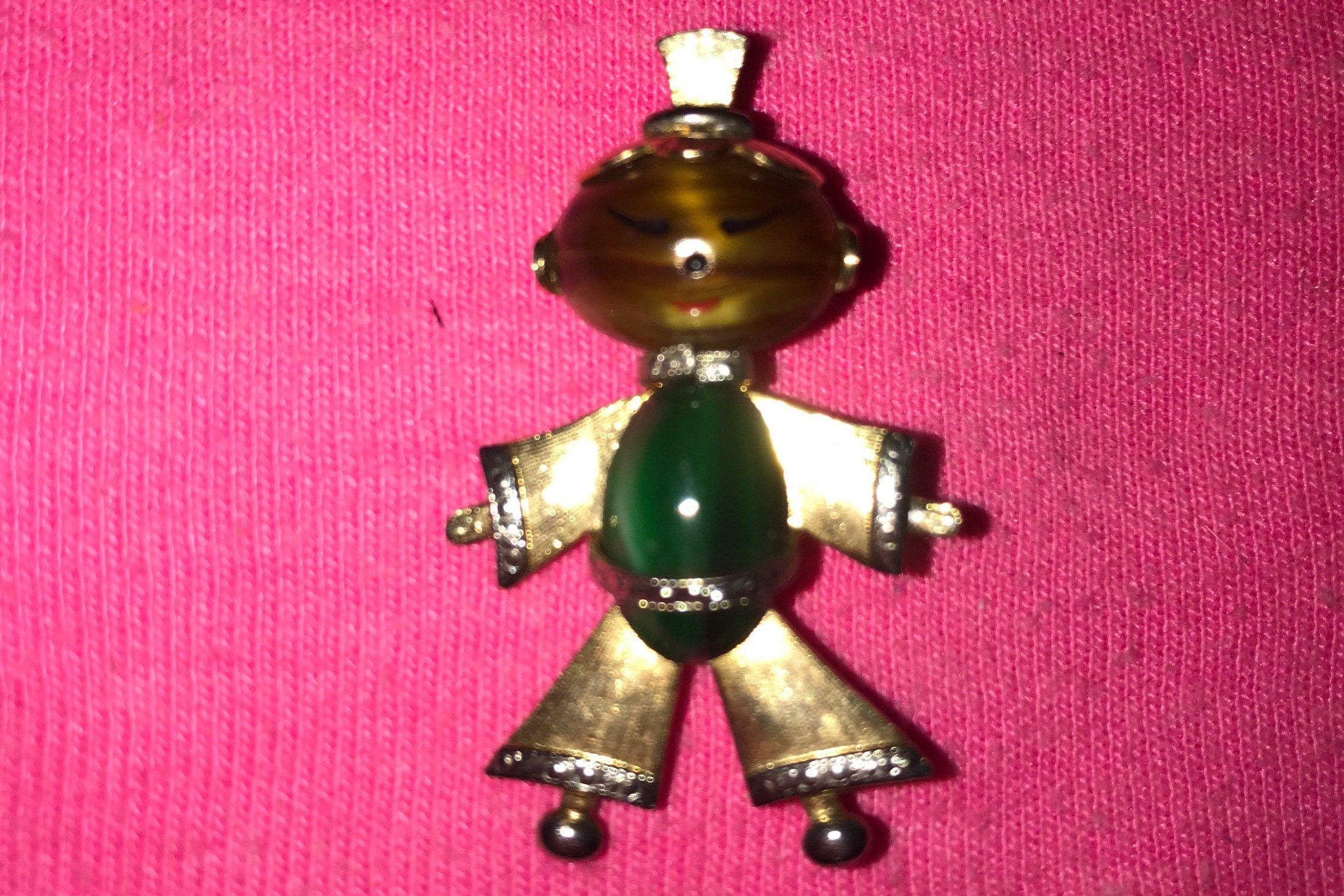 Jade Jelly belly Gold tone setting Antique brooch Mid century estate old Jelly Belly Pin Jewelry,wedding Asian Man 1950s