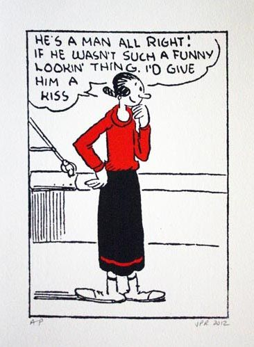 John Patrick Reynolds Comic Art Olive Oyl considers kissing Popeye. Limited  Edition Silkscreen Print on cotton … | Popeye the sailor man, Friend  cartoon, Fun comics