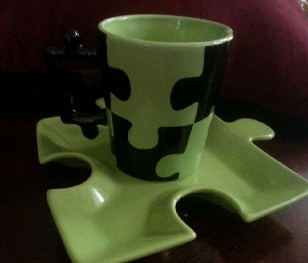 Bella Casa Folk Art Interlocking Jigsaw Puzzle Coffee Soup Mug Cup & Plate #BellaCasa