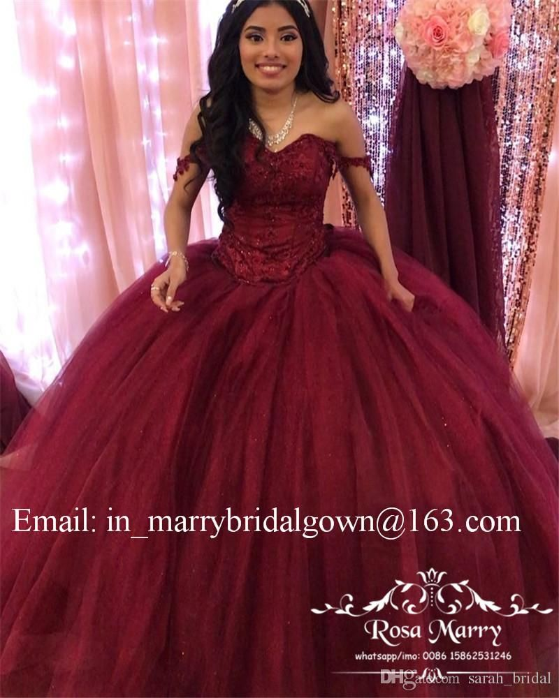6232b63834e Burgundy Sweet 16 Masquerade Quinceanera Dresses 2018 Off Shoulder Ball  Gown Vintage Lace Sequined Plus Size Vestidos 15 Anos Prom Gowns