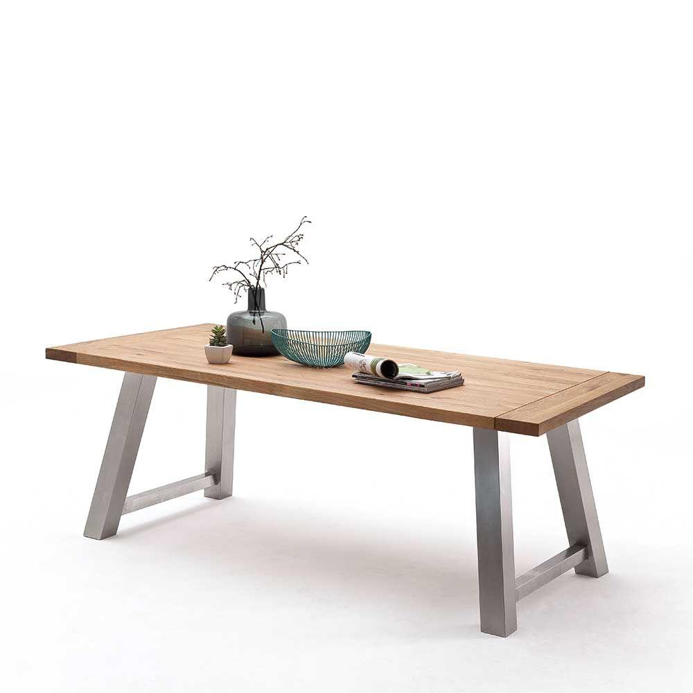 Entzückend Tisch Massivholz Galerie Von Loft Esstisch Aus Wildeiche Edelstahl Holztisch,massivholztisch,küchentisch,esszimmertisch,holztisch Massiv