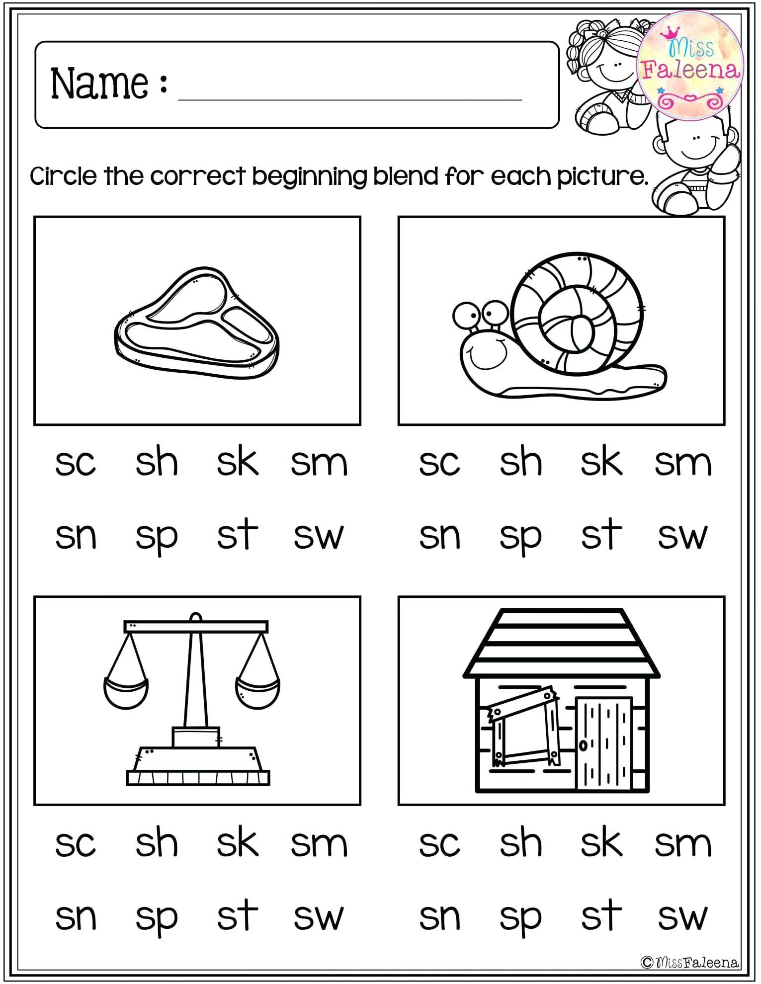 Blends Worksheets Kindergarten Free Blends For