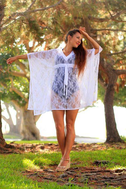 Mini lace caftan dress. Handmade beach cover up by Mademoiselle Mermaid.