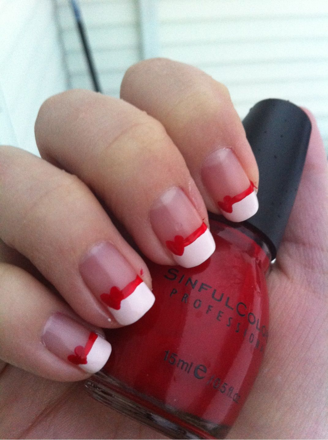 White French tip lined red heart | Nails | Pinterest | Manicure ...