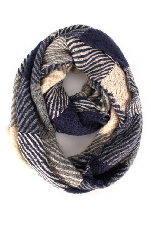 Zig Zag Checkered Infinity Scarf. Available in navy and pink #May23Online $20.00