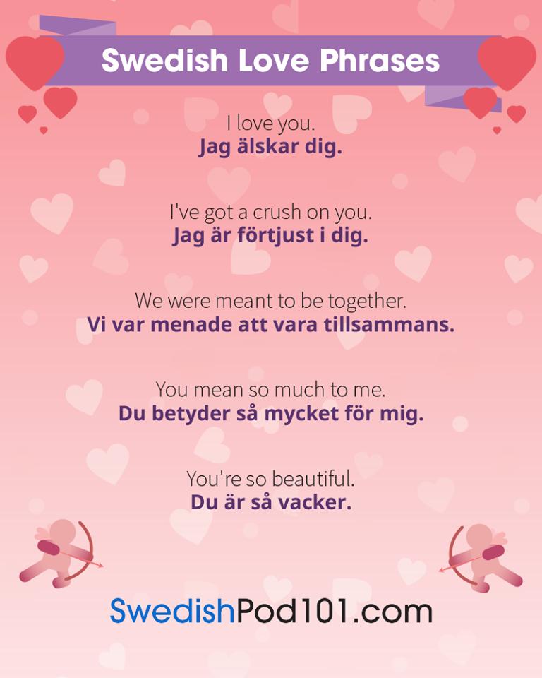 Swedish Love Phrases   swedish in 2019   Swedish language, Learn