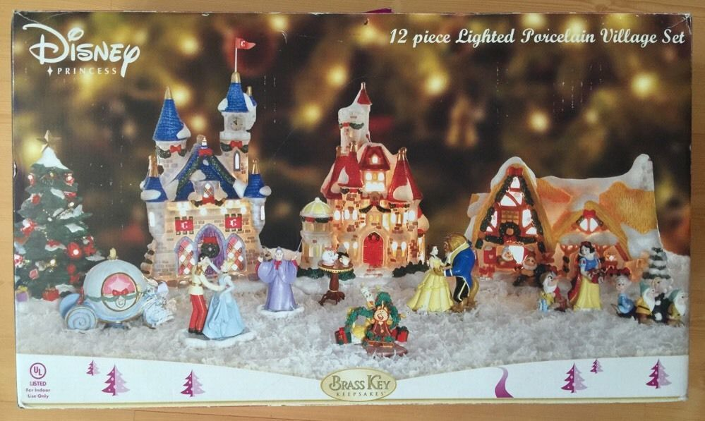 disney princess lighted porcelain christmas village brass key