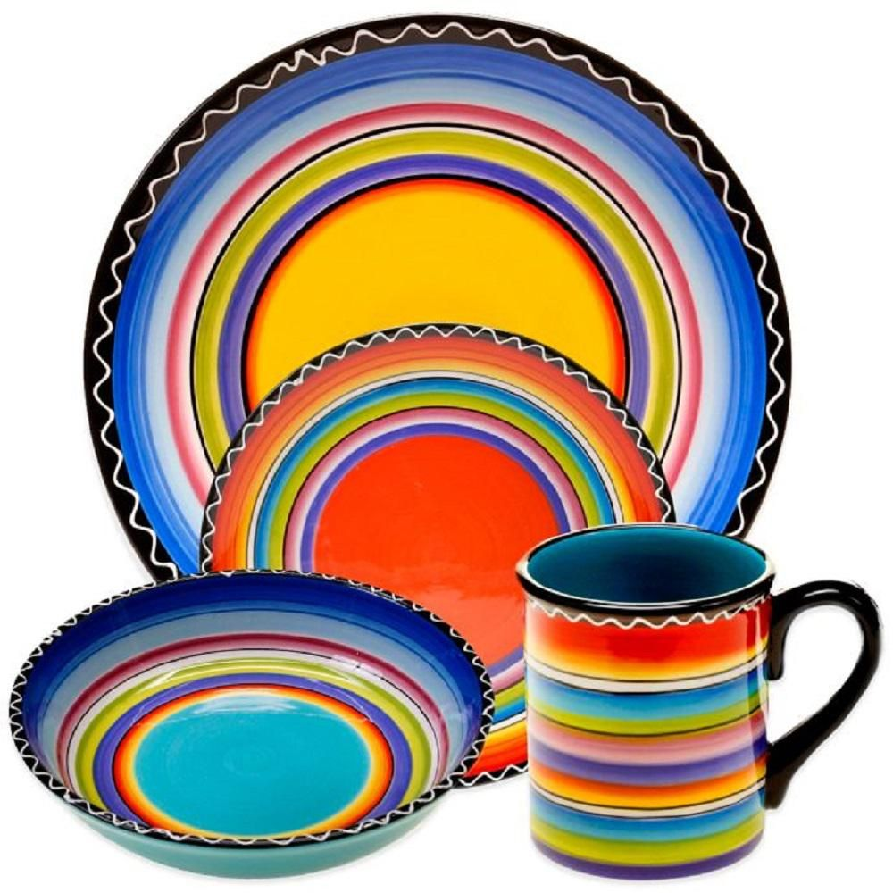 Certified International Tequila Sunrise 16 Piece Multi Color Dinnerware Set Ceramic Dinnerware Set Tequila Sunrise Ceramic Dinnerware Bright colored dinnerware sets