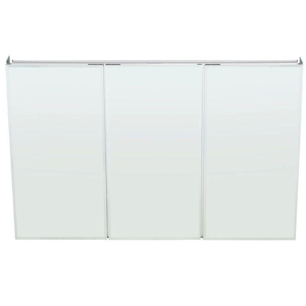 Pegasus 48 In W X 31 In H Frameless Recessed Or Surface Mount Tri View Bathroom Medicine Cabinet With Beveled Mirror Sp4590 The Home Depot Beveled Mirror Mirror Cabinets Wall Mounted Medicine Cabinet