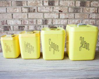 SALE // Mid Century 1950s Yellow Plastic Bakelite Typographic Kitchen  Canister Set Flour Sugar Coffee