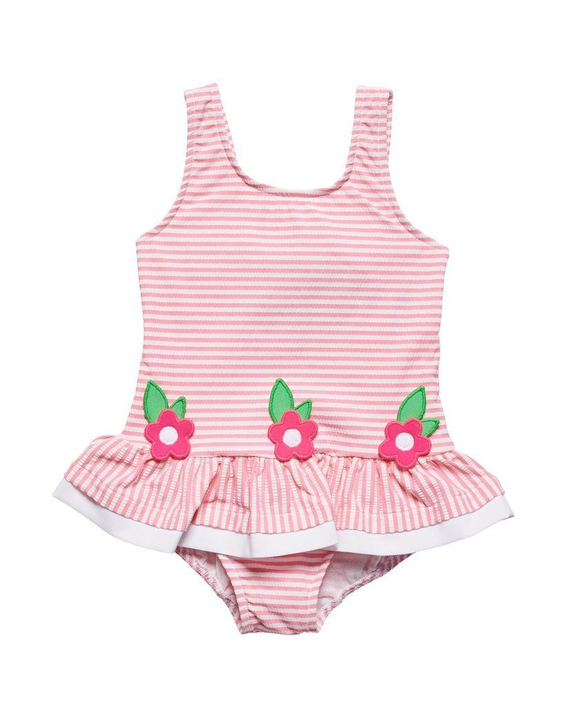 f46b9afdf8 Florence Eiseman Pink Seersucker Swimsuit w/ Appliqued Flowers in ...