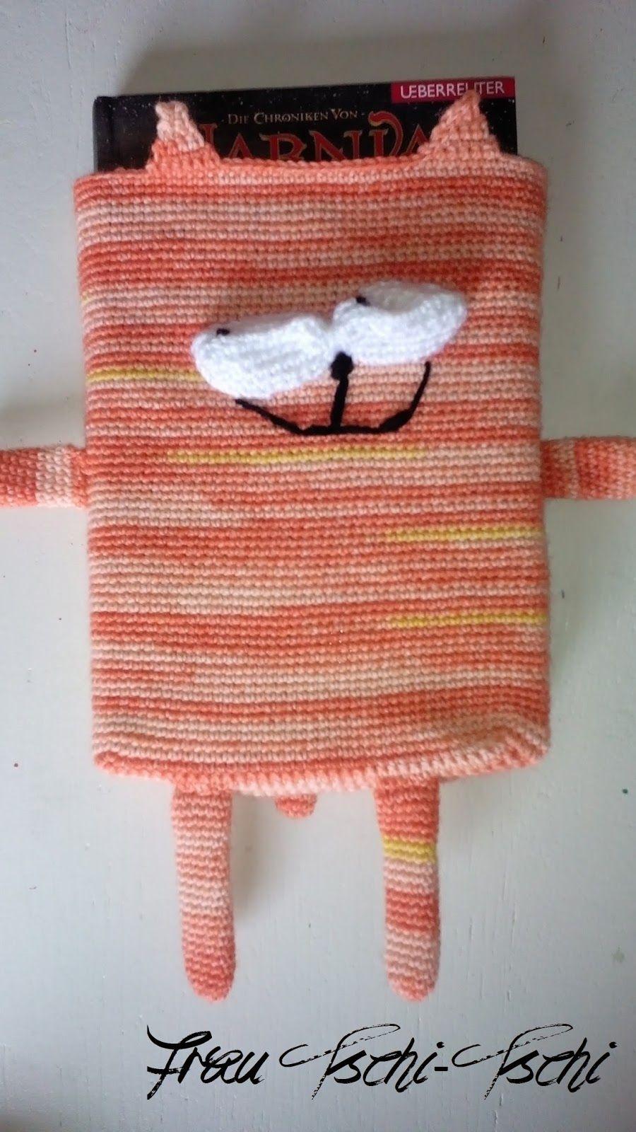 Frau Tschi Tschi Buchhülle Handytasche Häkeln Anleitung Crochet