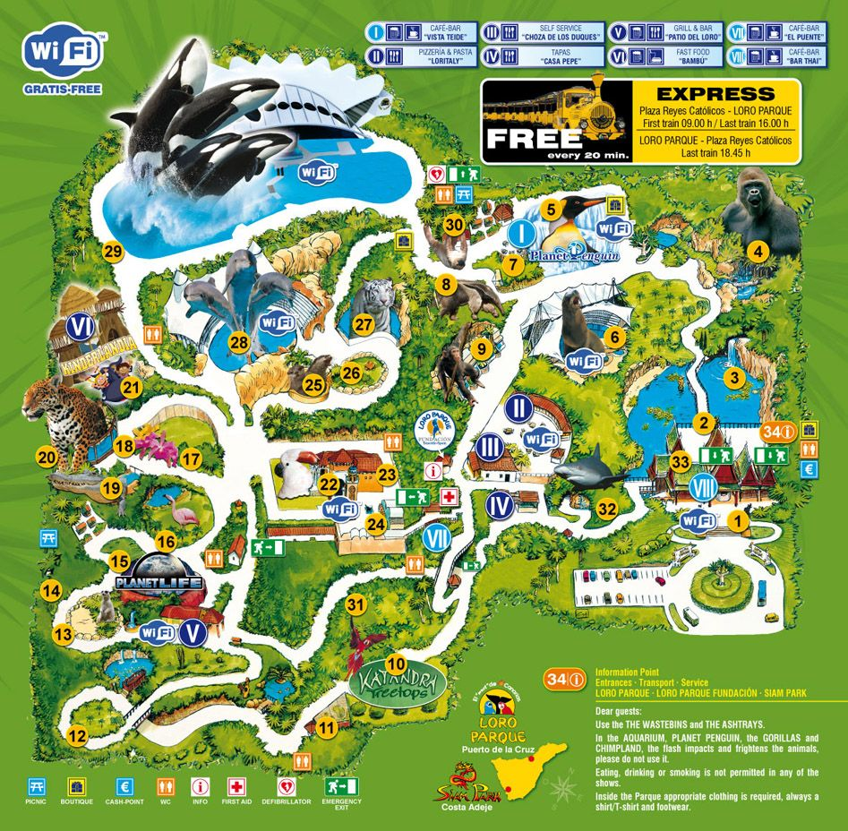 Loro Parque Map Zoo Map Canary Islands Interactive Map