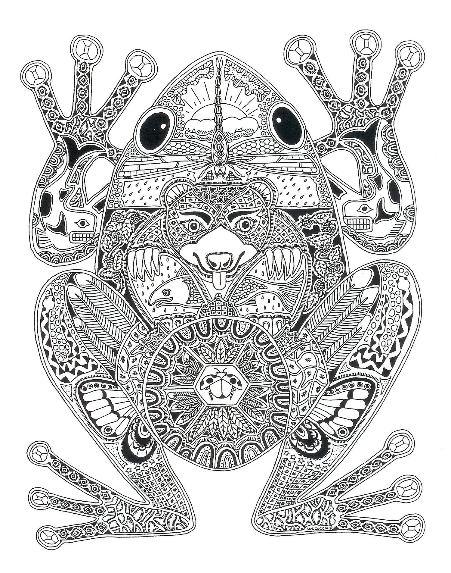 Pin de Jen M en Coloring book | Pinterest | Ranas, Mandalas y Dibujar