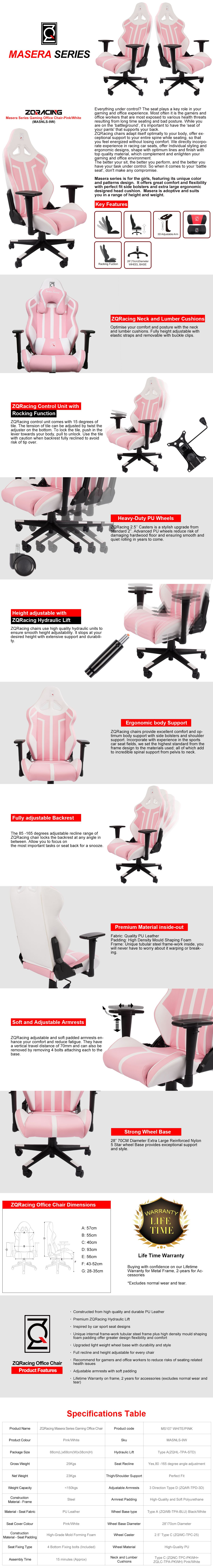 Masera Series Gaming Office ChairPink/White Office