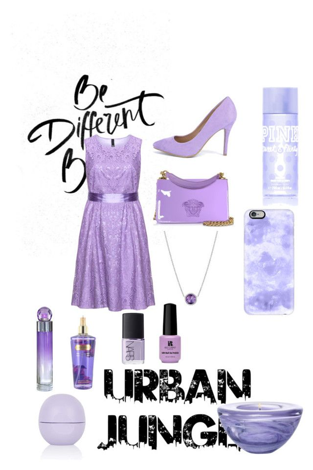 """Light & Stylish Lilac"" by tahiaahad ❤ liked on Polyvore featuring Manon Baptiste, Boohoo, Tacori, Red Carpet Manicure, Versace, Perry Ellis, Victoria's Secret PINK, Topshop, Casetify and NARS Cosmetics"