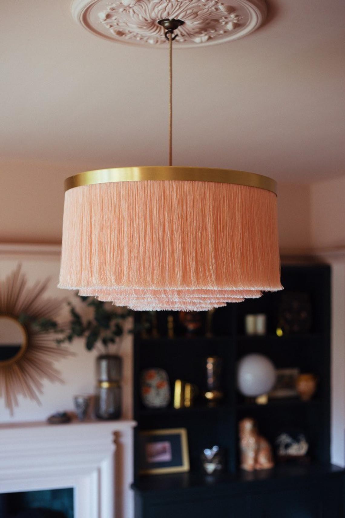 Fringe Light P I N K L E M O N A D E Lampshade In Softest Shell