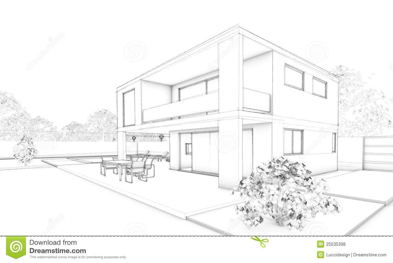 Sketch of modern house villa terrace and garden royalty for Architecture modern house design 2 point perspective view