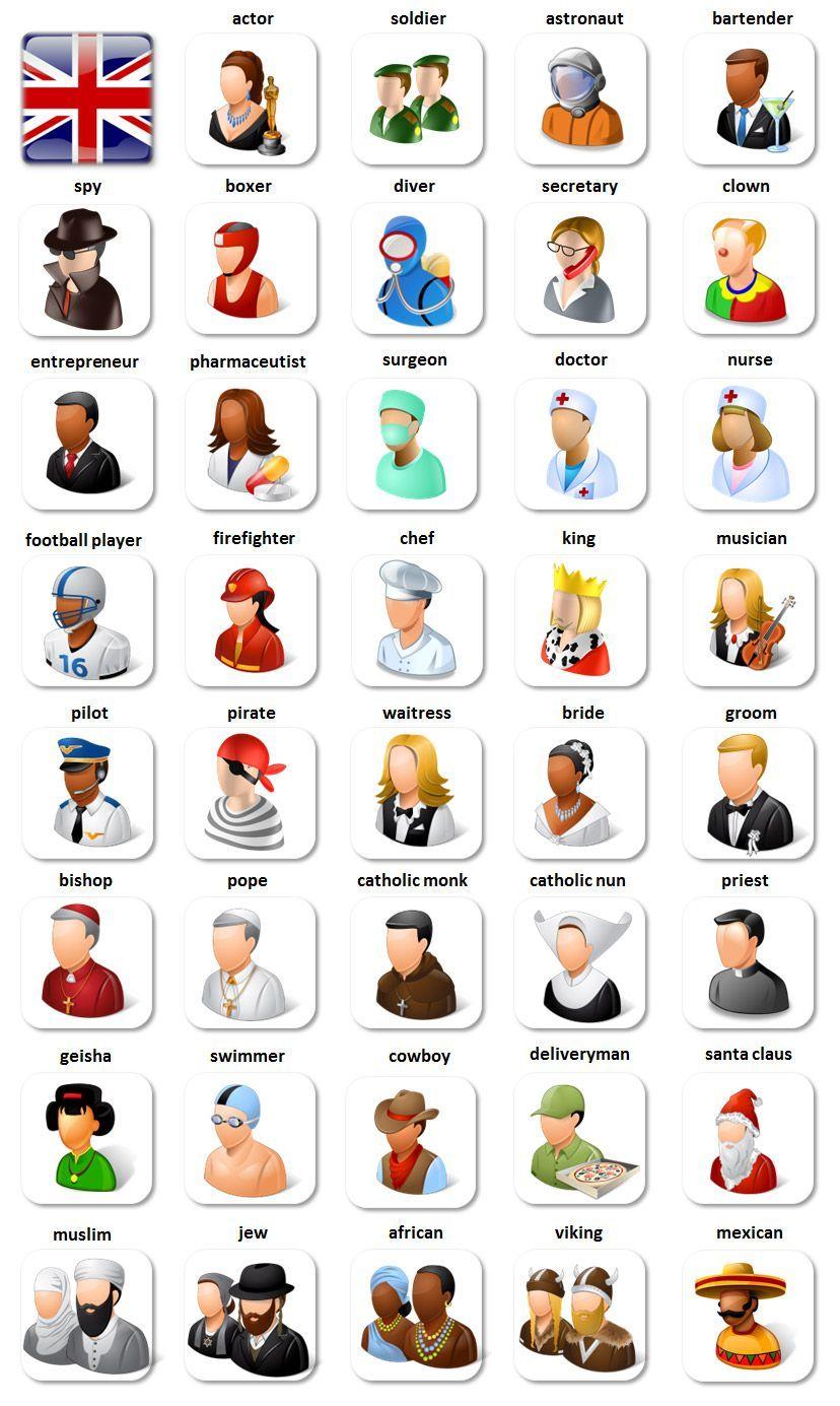 Vocabulario Profesiones Y Caracterizaciones Clase De Ingles Vocabulario En Ingles Imagenes Ingles