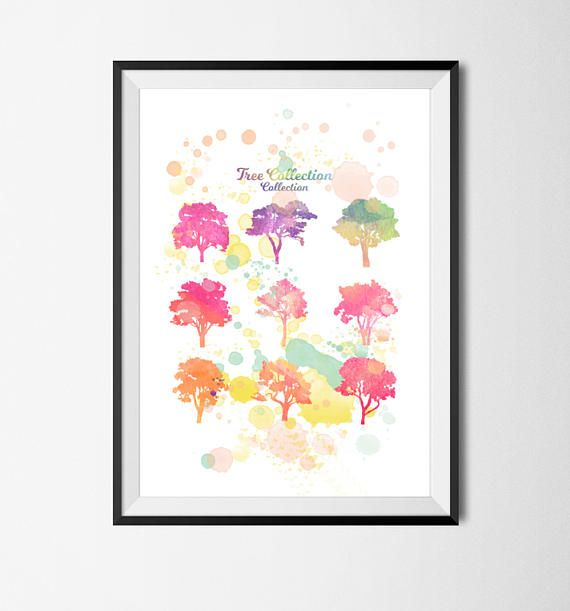 trees | trees tshirt | trees costume | trees shirt | trees mug | trees print | printable | wall art prints | watercolor prints  This artwork is a fusion of my watercolor imagery and my own creativity and design.  After the purchase, youll download a jpeg at A3 format and 300 dpi resolution (best quality) with white background. - Please be aware that the colors and paper you see on your monitor may different slightly from the actual colors of the file.  - All files are downloaded in a few…