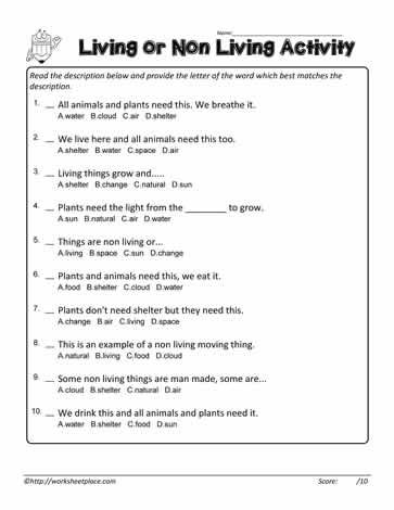 living non living multiple choice teaching ideas science worksheets animal science science. Black Bedroom Furniture Sets. Home Design Ideas
