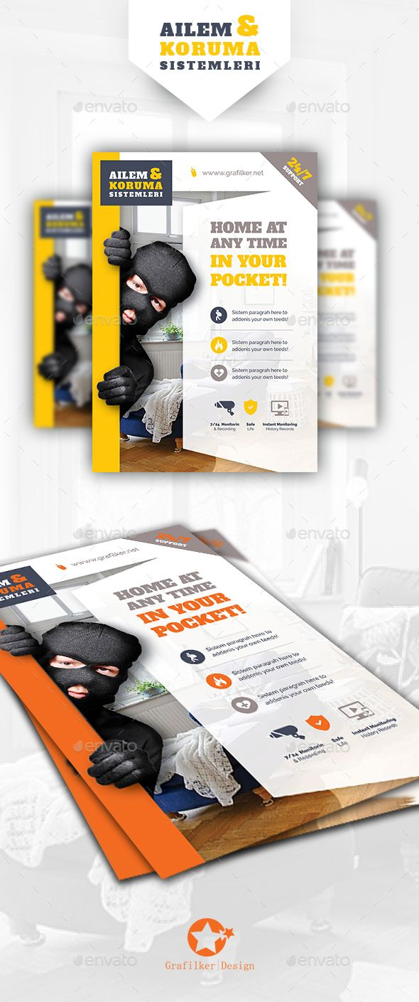 security system flyer templates photoshop psd insurance security