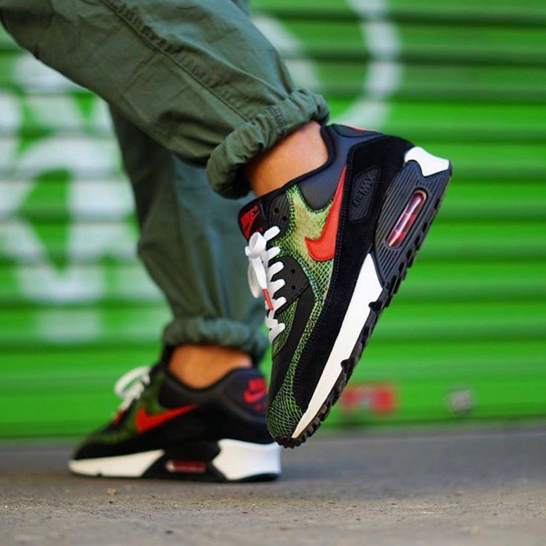 "1⃣9⃣ Nike Air Max 90 QS ""Green Python"" , worn by @theoze"