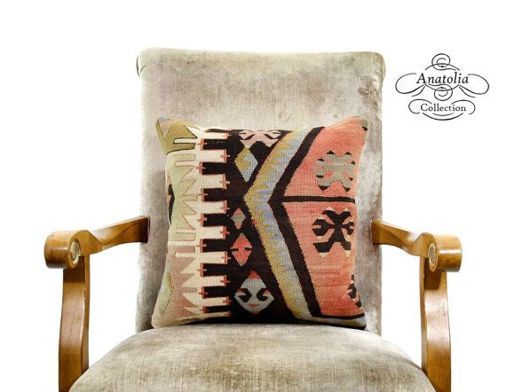 Nomad Art Turkish Kilim Rug Pillow Authentic by AnatoliaCollection