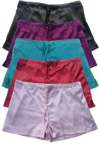 Pack of 5 Women`s Satin Boxer Shorts 79ac9aaadc