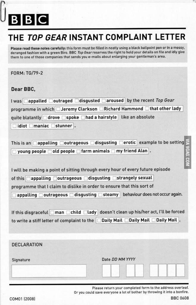 Top Gear Instant Complaint Letter  Top Gear Humor And Funny Things