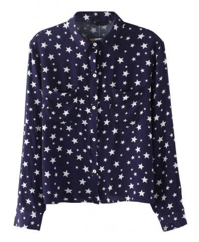 All-over Stars Print Twin Pockets Blouse