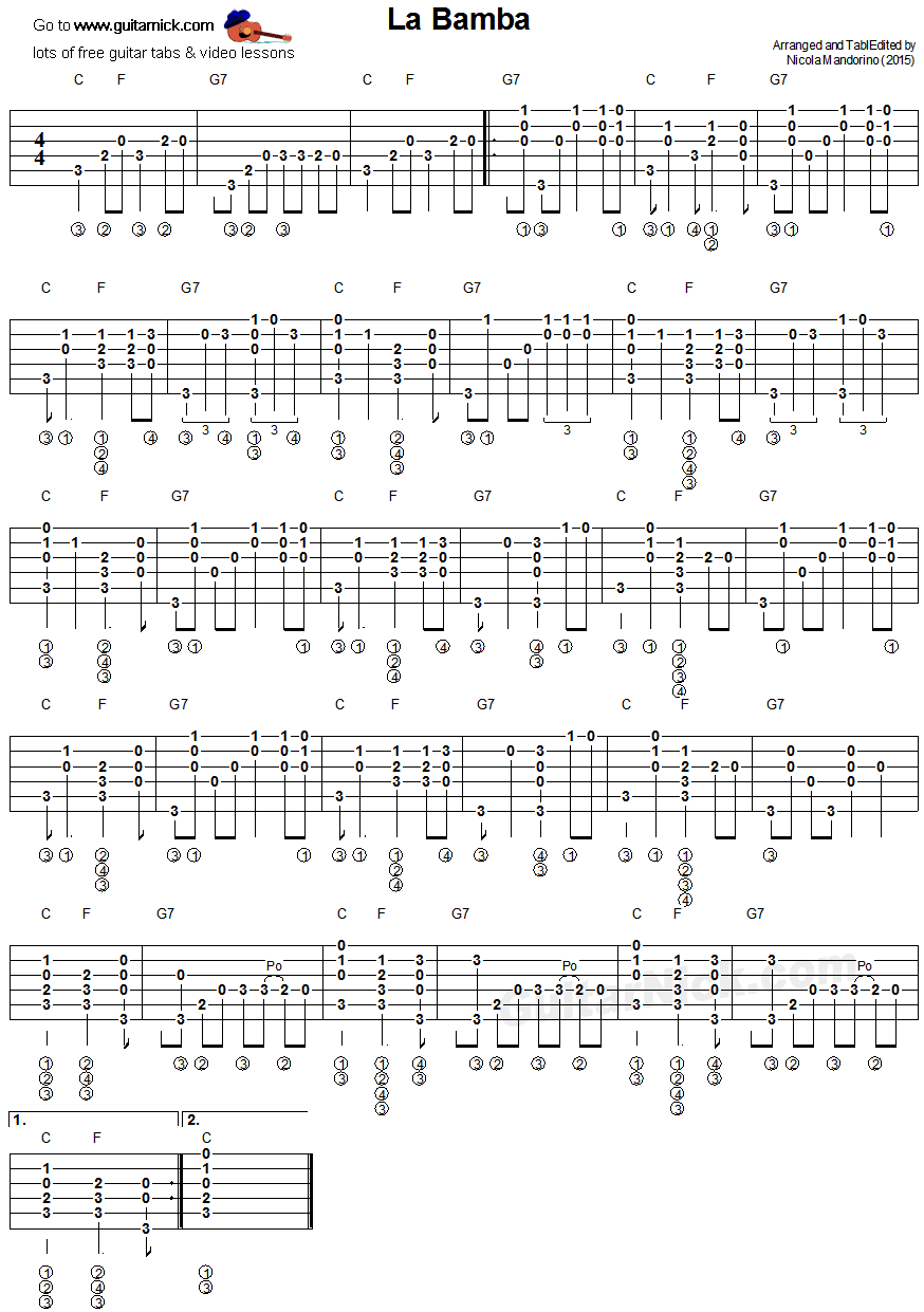 La bamba fingerstyle guitar tablature guitar music pinterest free fingerstyle guitar lesson with tab sheet music chords and video tutorial learn to play la bamba hexwebz Gallery