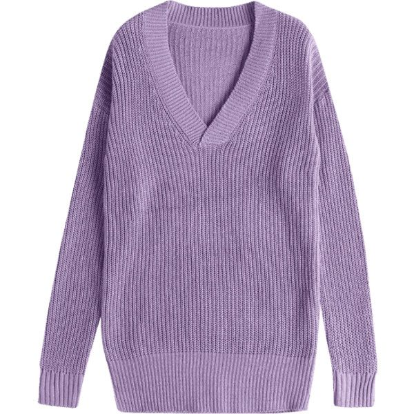 Drop Shoulder V Neck Chunky Sweater Purple (€18) ❤ liked on ...