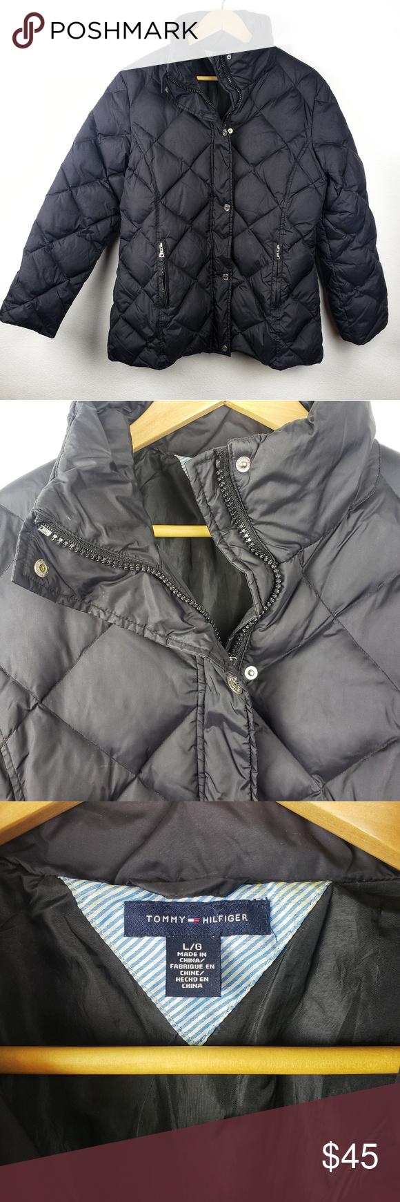 Tommy Hilfiger Black Full Zip Puffer Coat Large