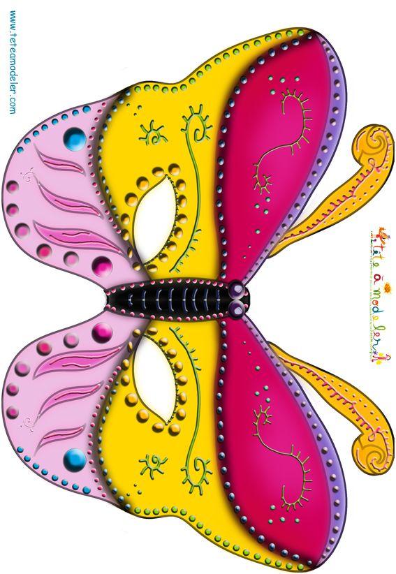 Paper toy masque papillon jaune et rose t te modeler - Masque papillon carnaval ...