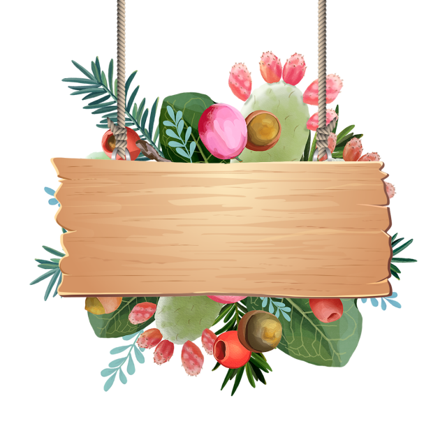 Tropical Fruits Decoration With Leaves Wooden Hanging