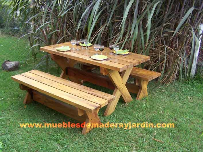 Explicacion de como hacer un banco en madera con mesa for Mesas de madera para jardin