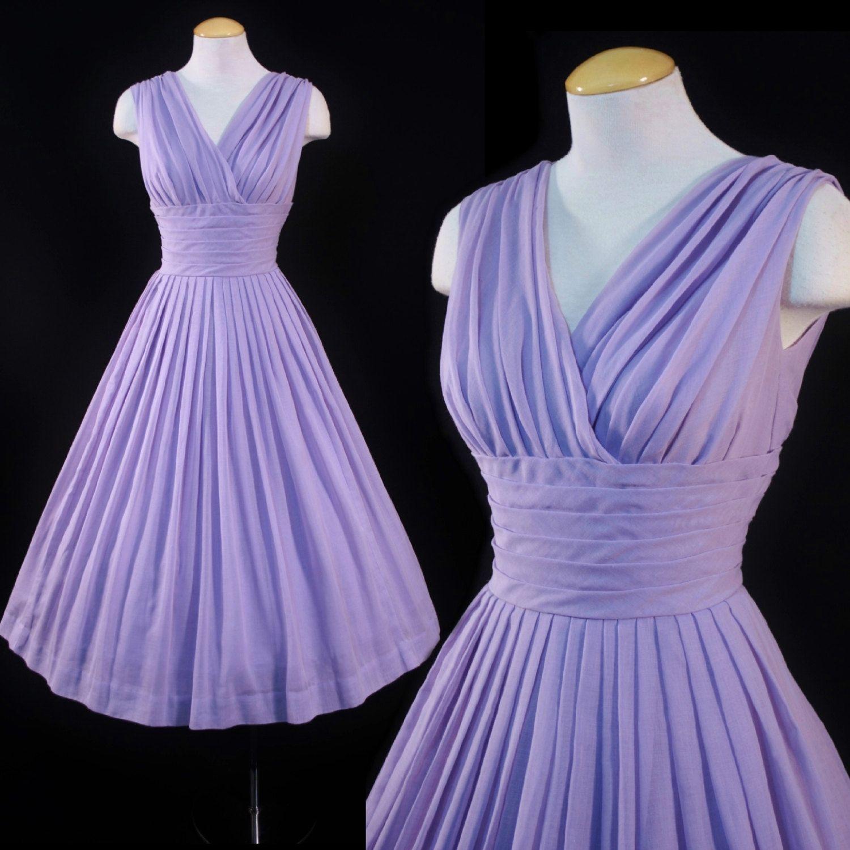 Vintage 1950s LAVENDER Semi Sheer Muslin Cotton 50s SUN DRESS Full ...
