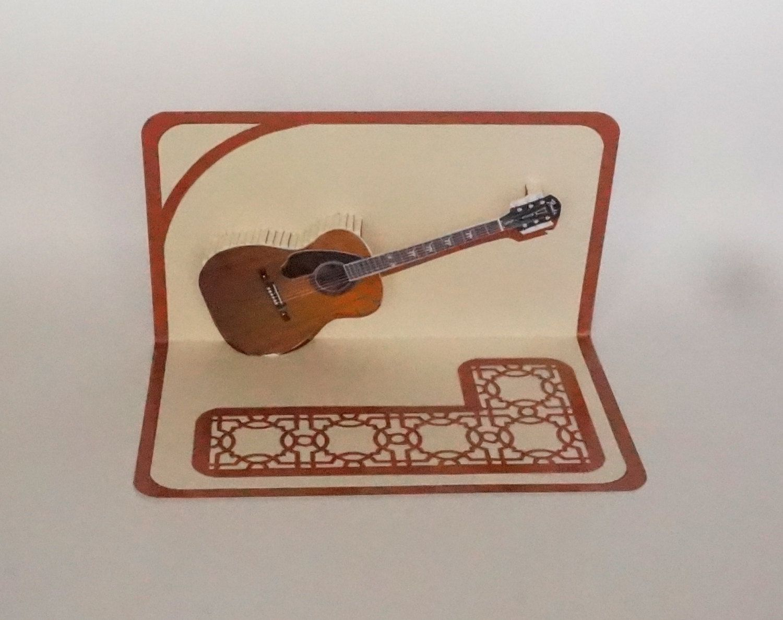 Acoustic Guitar 3d Pop Up Card Original Design American Idol Etsy American Idol Original Designs Music Lovers