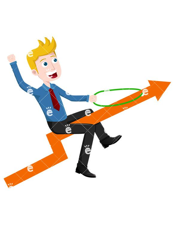 A Businessman Atop An Arrow Pointed Up Into The Sky Caucasian
